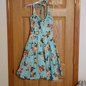 Turquoise Floral Halter Dress